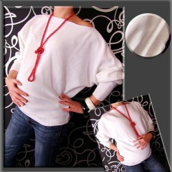 Těhotenský asymetrický svetřík - bílá