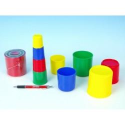 Kubus pyramida skládanka kulatá plast asst 4 barvy 9ks v sáčku 12m+
