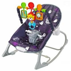 Euro Baby Lehátko,houpačka pro kojence  s vibrací a hudbou - Little forest - fialové, K19