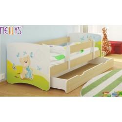 Dětská postel Nellys ® s šuplíkem/ky - Míša dáreček/sv.hnědá