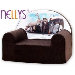 Dětské křesílko/pohovečka Nellys ® - Zvířata v hnědé
