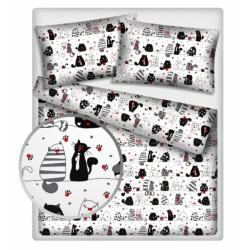 Baby Nellys 2 dílné bavlněné povlečení 140 x 200 - kočky - bílé