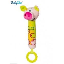 Edukační hračka Baby Ono - pískací s kousátkem  - PRASÁTKO