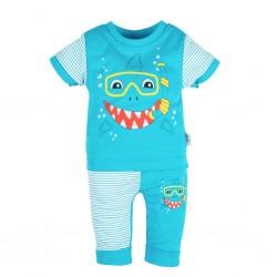 Kojenecké tričko s krátkým rukávem a tepláčky New Baby Shark, Tyrkysová, 62 (3-6m)