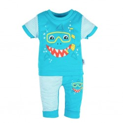 Kojenecké tričko s krátkým rukávem a tepláčky New Baby Shark, Tyrkysová, 68 (4-6m)