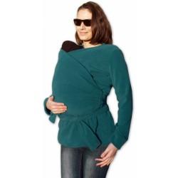 Zavinovací kabátek pro nosící, těhotné - fleece - petrolejový