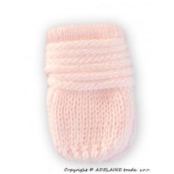Zimní pletené  kojenecké rukavičky - sv. růžové