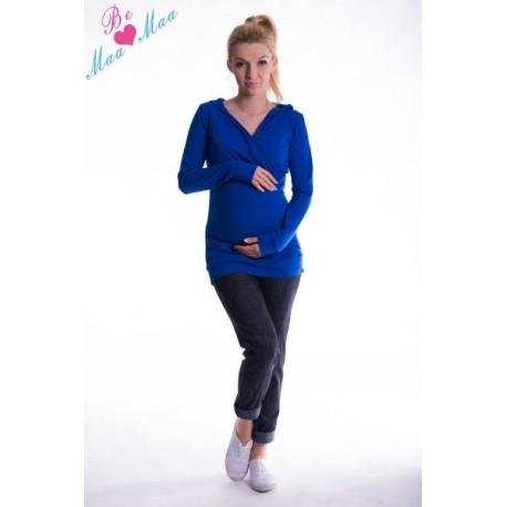 Těhotenská mikina s kapucí OLINA - tm.modrá