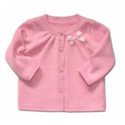 Kojenecký svetřík K-Baby s mašličkou - růžový