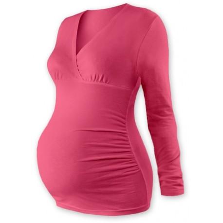Těhotenské triko/tunika dlouhý rukáv EVA - losos. růžové