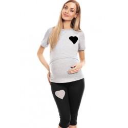Be MaaMaa Těhotenské, kojící pyžamo 3/4 srdce - šedé