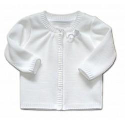 Kojenecký svetřík K-Baby s mašličkou - bílý