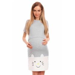 Be MaaMaa Těhotenská, kojící noční košile s motivem kočky, kr. rukáv -  šedá