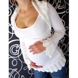 Těhotenský svetřík s bolerkem - bílá