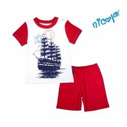 Kojenecké pyžamo krátké Nicol, Sailor - bílé/červené