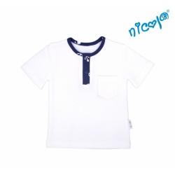 Kojenecké bavlněné tričko krátký rukáv Nicol, Sailor - bílé