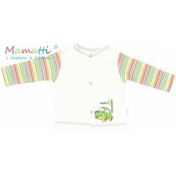 Bavlněná košilka Mamatti - CAR - krémová/barevné proužky