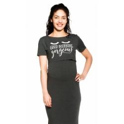 Be MaaMaa Těhotenská, kojící noční košile Gorgeous - grafitová
