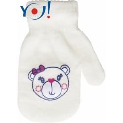 Kojenecké dívčí akrylové  rukavičky YO - smetanové