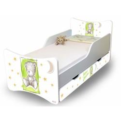 Dětská postel NELLYS Sweet TEDDY s šuplíkem - zelený