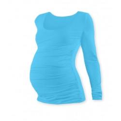 Těhotenské triko JOHANKA s dlouhým rukávem - tyrkys