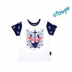 Kojenecké bavlněné tričko Nicol, Sailor - krátký rukáv, bílé