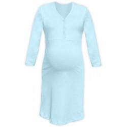 Těhotenská, kojící noční košile PAVLA 3/4 - sv. modrá