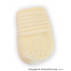 Zimní pletené  kojenecké rukavičky - smetana