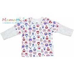 Polo tričko dlouhý rukáv Mamatti - LION - šedý melírek/potisk lion