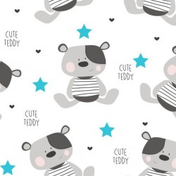 Nepromokavá flanelová podložka New Baby Cute Teddy, Bílá