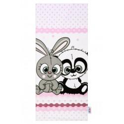 Flanelová plena s potiskem New Baby bílá králík a panda, Bílá