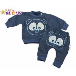 Tepláková souprava Baby Nellys - Medvídek - granátový melír