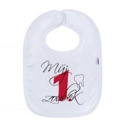 Kojenecký bavlněný bryndák New Baby Můj 1 zoubek červená, Bílá