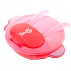 Dětská miska se lžičkou a vidličkou Akuku kočka červená, Červená